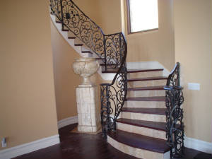 Superior Custom Wrought Iron Staircase With Wood And Tile Stairs